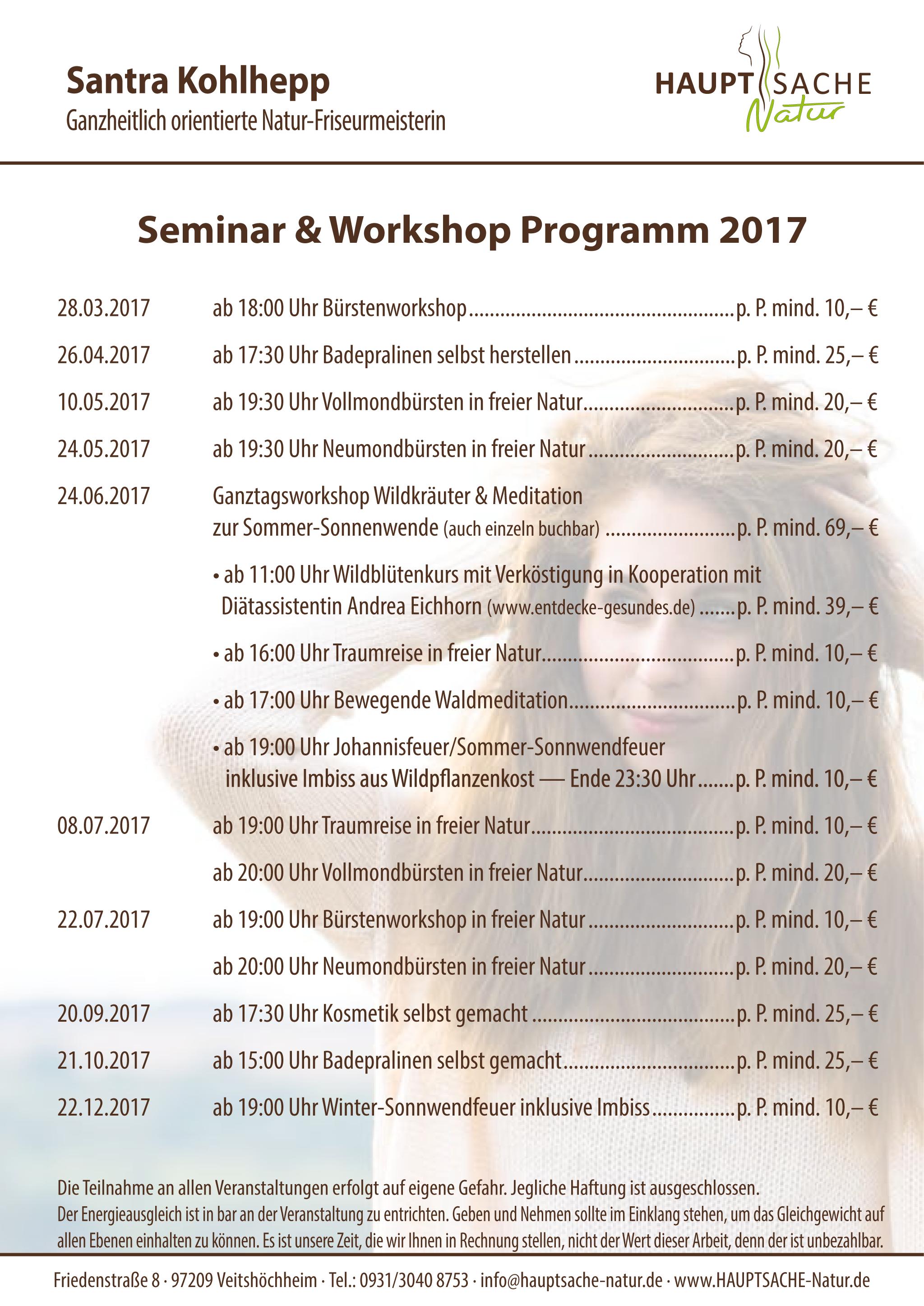 Seminar- und Workshop-Programm - HAUPTsache-Natur
